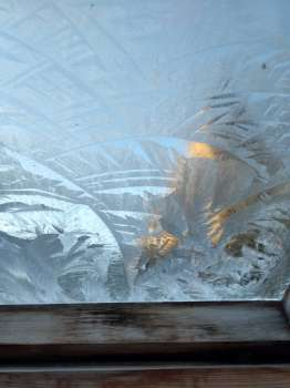 Frost on a greenhouse pane with the tower behind