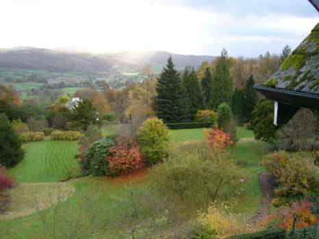 A November scene looking southeast from the house over the garden and down to the Vale of Esthwaite